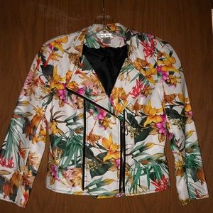 """Fun and flirty white floral """" pleather """" jacket"""